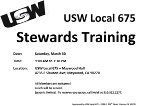 March 30 Stewards Training Leaflet